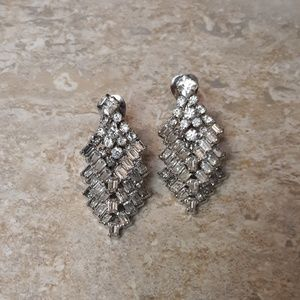 VTG Crystal Diamond And Silver Earrings